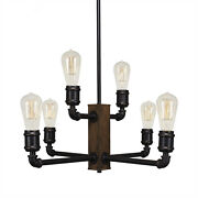 Portland 6 Light Chandelier With Amber Antique Bulbs