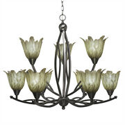 Bow 9 Light Chandelier Shown In Brushed Nickel Finish With 7 Vanilla Leaf Glass