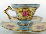 Rare Royal Sealy Tea Cup And Saucer, Square Cup, Multi-sided Plate, Handpainted