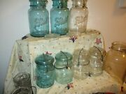 Collection Of Blue Ball/atlas Canning Jars With Glasl Lids 10 Total Addnl 3lid
