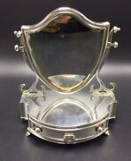 Levi And Salaman Antique English Sterling Silver Novelty Vanity Mirror Jewelry Box