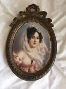 Miniature Framed Portrait Painting American As Found