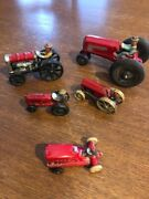 Vintage Set Of 5 Toy Tractors With Farmers