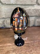 Beautiful Russian G. Debrekht Hand-painted Egg W/stand  St. Basils Cathedral