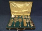Antique Vanity Box Crystal And Silver Sterling Delheid And Vsl Box And 13 Pcs