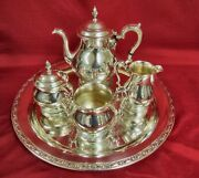 International Sterling Silver Prelude 4pc Tea Set And Oneida Silverplate Tray
