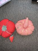 Vintage Antique Pin Cushions Tomato, Strawberry, Sewing Notions