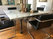 Knollstudio Pascal Marble Dining/conference Table- Excellent Condition W/casters