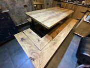 Rustic Handmade Modern Kitchen Table And Corner Bench Metal Legs Banquette