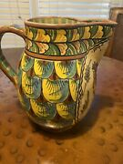 Ceramic Hand Painted Pitcher Made In Italy Signed