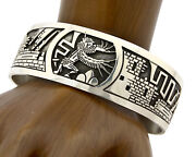 Hopi Bracelet .925 Silver Signed Ted Wadsworth Pictograph Overlay C.80and039s