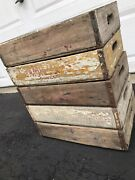 5 Vintage Weathered White Washed 7up And Pepsi Wood Soda Pop Crates Lot