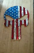 Metal American Flag Large Outdoor Wall Art Punisher Skull Deck Porch Gift Art Us