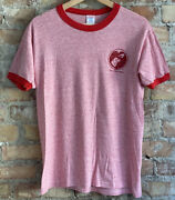 Vintage 80s Pet Therapy Red Rayon Ringer T Shirt Lend A Heart Hand Russell Usa L