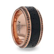 Menand039s Ring Lava Inlay With 10k Rose Gold And Round Black Diamonds On Edges - 10 Mm