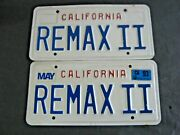 Vintage California License Plates Personalized Vanity Remax Ii Remax Two