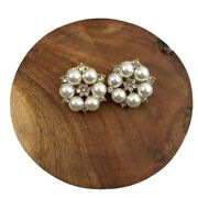 Flower Round White And Gold Pearl Earings