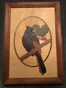 Hudson River Inlay Cardinal Marquetry Panel By Nelson In Wood Frame