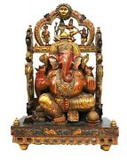 Lord Ganesha Wooden Statue Fine Hand Curved Painted Collectible Artwork