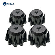 Semi Truck Black Spiked Rear Hubcaps Kits With Star Top 4pcs
