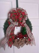 Christmas Wreath, Little Red Tinsel Truck- Greenery And Red Truck Ribbon Bow