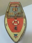 Vintage Arnold Racing Boat Chris-craft Captain Driver Tin Toy Wind Up For Parts