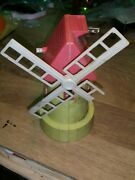 Vintage Tin Toy Coin Bank Windmill Plastic Cap For Parts Or Restoreration