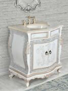 33 Farmhouse Distressed Cabo Single Bathroom Vanity Beige Marble Top W/ Sink