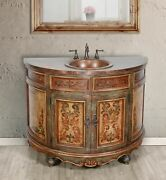 48 Farmhouse Single Bathroom Vanity With Copper Top And Sink Earth Tone Finish