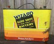 Vtg 50s Western Auto Wizard 6 Volt Battery Box Gas Oil Advertising Sign Rare