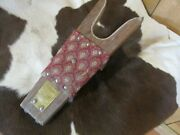 Oak And Brass Vintage Boot Jack With Nice Decorative Fabric Cowboy Collectable