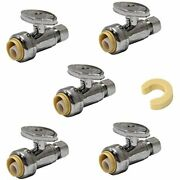 Pack Of 5 Efield Push Fit 1/4 Turn Straight Stop Valve Water Shut Off 1/2 X -