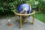 19 Tall Large Blue Semi-precious Stone World Globe On Brass Stand With Compass