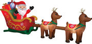 Airblown Christmas Santa Sleigh With Reindeer Inflatable Scene Decoration New