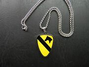 Us Army 1st Cavalry Division Insignia Dui Crest Emblem Stainless Steel Necklace