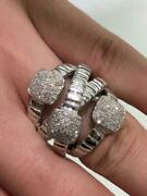 14k White Gold And Genuine White Diamonds 0.96ct Pave Cable Wide Band Ring Size 7