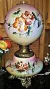 Fab Vintage Gwth Gone W The Wind Lamp Hp Flowers Leaves Converted To Electric