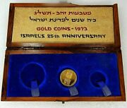 One 1973 Israel Proof Gold Coin Government Wooden Box 50 Lirot 25th Anniversary