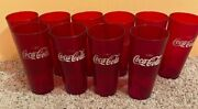 Coke Coca Cola Restaurant Ruby Red Plastic Tumblers Cups Faded Logo Lot Of 10