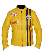 Menand039s Steve Mcqueen Le Mans Gulf Racing Style Stripes Yellow Leather Jacket