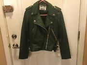 New Women's Real Leather Liz Jacket By Walter Baker,size S,color -bottle Green
