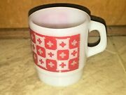 Fire King Coffee Mug Milk Glass Cup Rare And Hard To Find Red Checkered D Handle