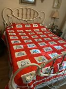 50 State Flowers Vtg Hand Embroidered Red Full/queen Quilt Bedspread 80 X 100