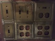 Beaded Decorative Single Duplex Outlet Cover Tumbled Antique Brass Wall Plate