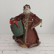 Vintage Paper Mache Santa Tree Topper Old World Woodland 13 Father Christmas
