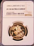 1990 Great Britain Gold 2 Sovereign Ngc Pf70 Ultra Cameo Just Graded Pq Lm205
