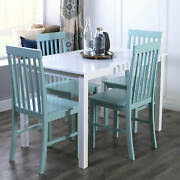Dining Room Table Set Farmhouse Wood Kitchen Table And 4 Chairs Furniture 5-piece