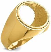 14k Yellow Gold Mens Polished Classic Open Back 16mm Coin Bezel Ring