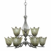 Revo 9 Light Chandelier Shown In Aged Silver Finish With 7 Vanilla Leaf Glass