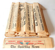 Lot Of 21 1945 The Sporting News Newspapers Folded World Series Issue Vintage